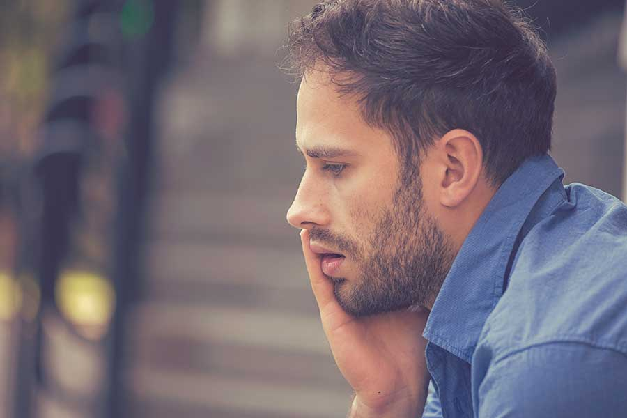The pensive man is just one of the drug addiction statistics we can help.